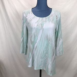 Chicos Green White Tan Watercolor Pastel Tunic Top